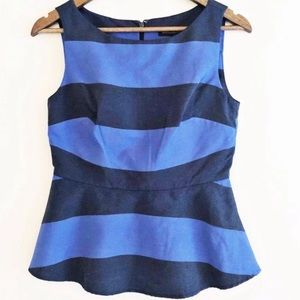 NWT Banana Republic Stripe Peplum Top Sz 2